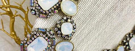 Swarovski Oval Water Opal Pink Rhinestone Necklace, , Big Stones Necklace Bold B