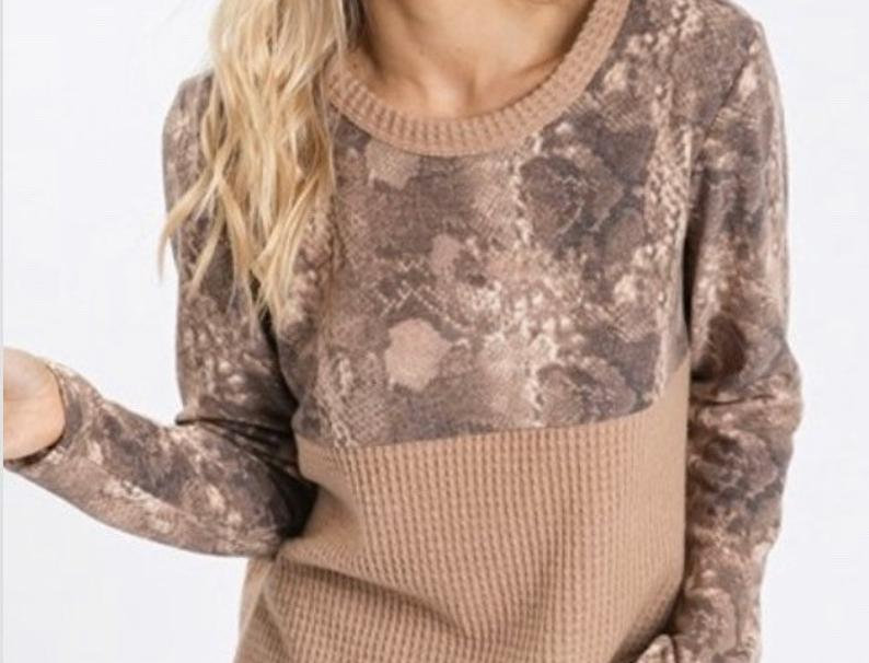 TOP Taupe Loong Sleeve Animal Print And Color Block Top With Waffle Fabric Super