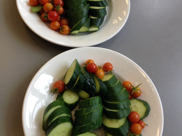 The kids get to snack on veggies from our garden while we do our activities! Sweet!