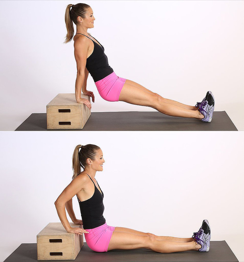 Place your hands shoulder-width apart on a secured bench or stable chair. behind you. Slide off the front of the bench with your legs extended out in front of you. Straighten your arms, keeping a little bend in your elbows to keep tension on your triceps and off your elbow joints. Slowly bend elbows to lower body toward the floor until your elbows are at about a 90-degree angle. Keep your back close to the bench. At the bottom of the movement, press down into the palms, raising upwards. Repeat