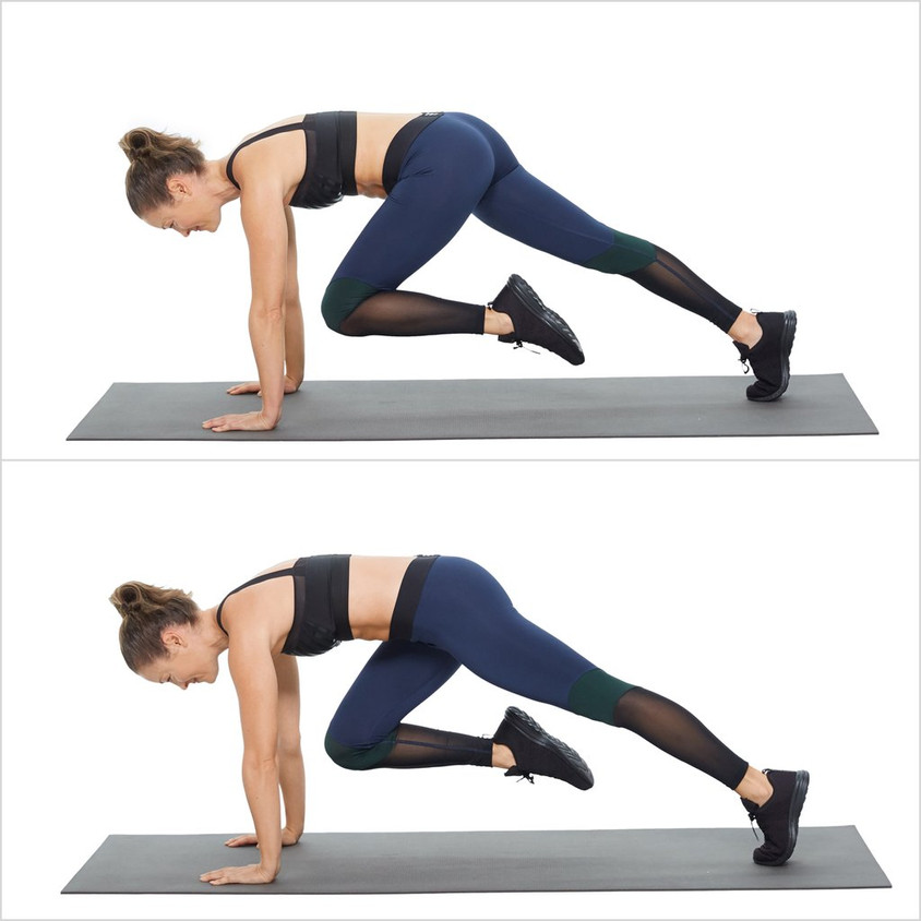 Start in a plank position, placing hands on floor directly beneath your shoulders. Extend legs and set yourself in a position where you have a straight line from your shoulders through your hips to your heels. Brace your core to prevent your back from sagging.  Bring your right knee across your body towards your left elbow and take back. Repeat on opposite side, alternating legs for 20+ reps.