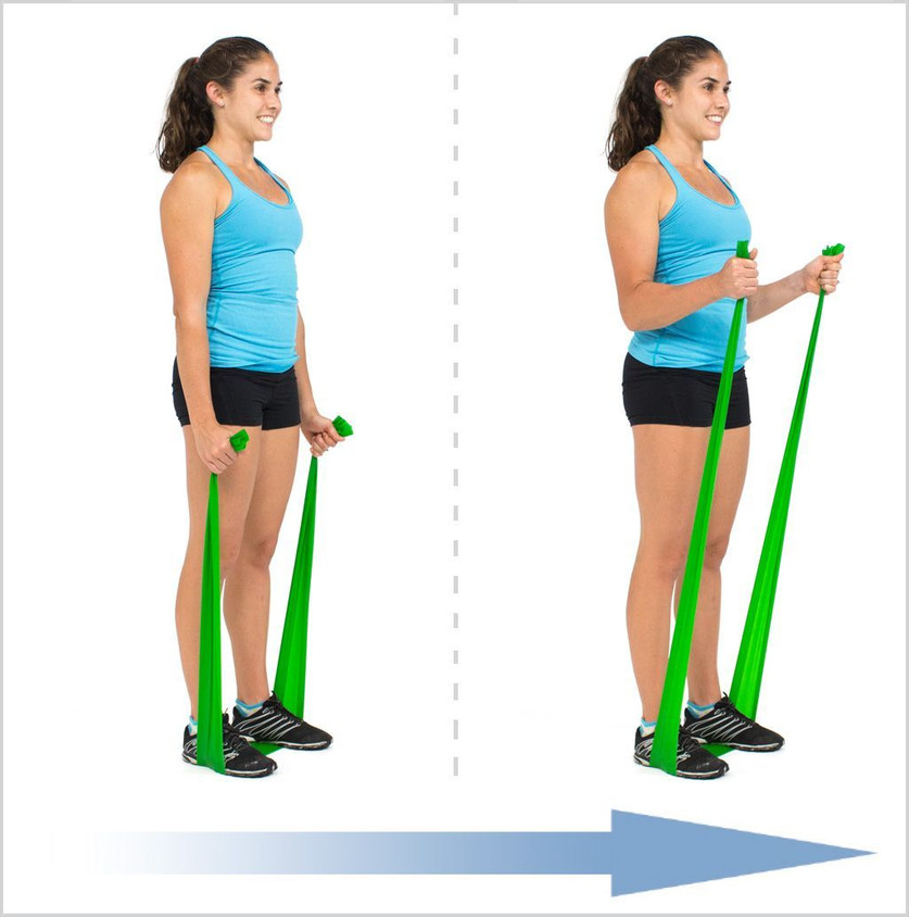 Stand with slightly softened knees, and neutral pelvis (core engaged and tail bone tucked under). Holding an end of the band in each hand, thumbs upwards, bring the elbows in to the side of the body. Ensure there is some resistance on the band when arms are extended. Inhale through nose. As you exhale, draw belly button back to your spine and bend the elbows, to a 90 degree position. Lower back to the start position, inhaling and repeat the movement 12-16 times. Try 2 sets of this exercise.