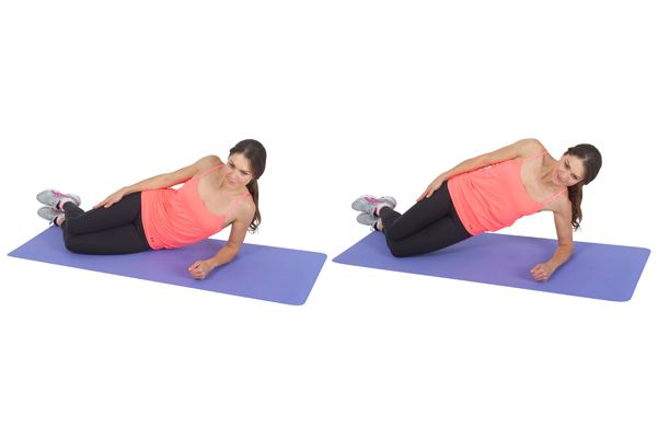 Lie on your side supporting your upper body with forearm. To begin with, perform this exercise with both knees bent, then as you gain strength and confidence, progress to extending just the top leg, and then both. Carefully raise your hips to the ceiling (if you are comfortable holding this for 20 + secs, extend the top leg). Maintain a straight line through your torso and hips to your feet, while lifting the hips upwards. Either hold the position for 20 secs+ or lift & lower for 12 reps each