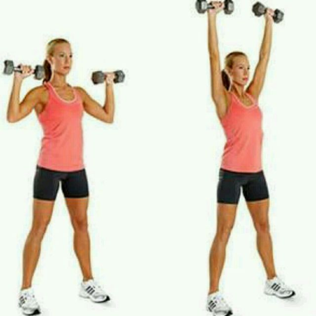 Holding a 3-5kg dumbbell in each hand, stand with feet slightly wider than hip width apart. Bring the dumbbells up to shoulder height with elbows directly out to the side. Squeeze a little between the shoulder blades to ensure you have the arms in the correct position. Engage the core and slightly soften the knees. Inhale first. As you exhale, draw the belly button back to spine and push straight upwards from the shoulders. The dumbbells to meet at the top. Inhale as you return to start & repeat