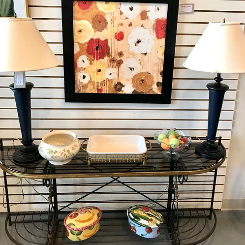 Vintage Iron, Brass and Glass Shelf