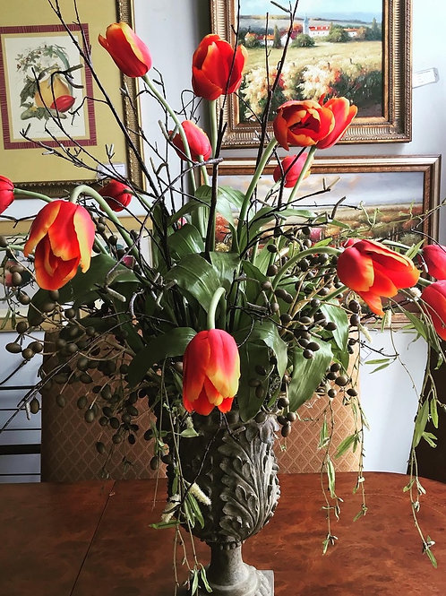 "Large Floral Centerpiece ""Tulips and Berrys"""
