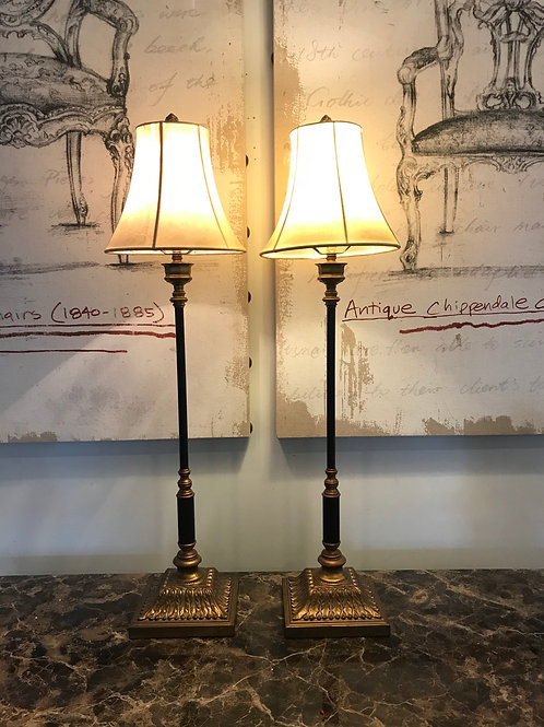 Pair of Burnished Brass Candlestick Lamps