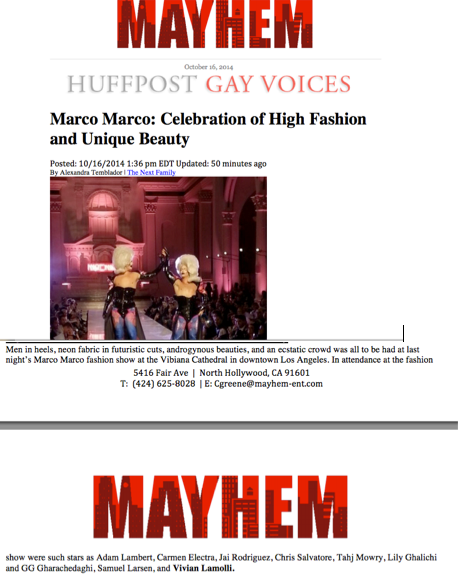 Huffington Post Mentions Vivian Lamolli At The Marco Marco Fashion Show