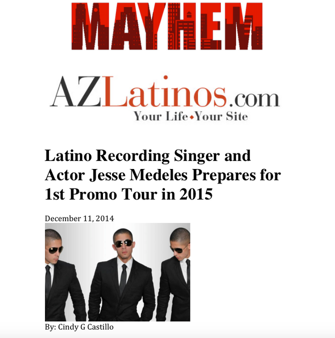 Latino Recording Singer and Actor Jesse Medeles Prepares for 1st Promo Tour in 2015