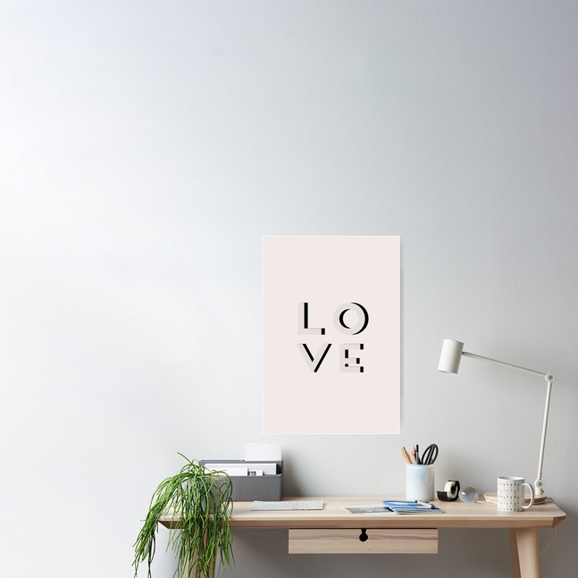 Love Poster in Elephant Grey by Kay Ali