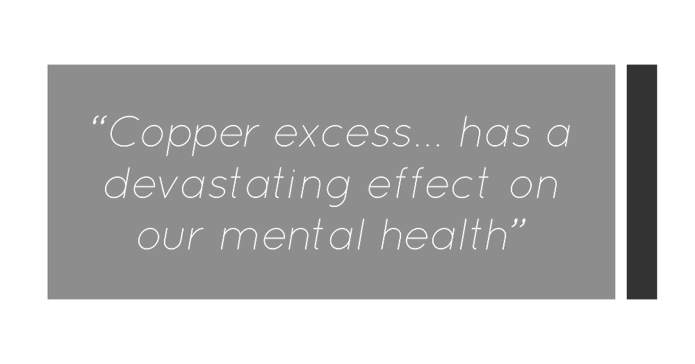 You Need A Nutritional Therapist London clinic. Quote from Kay Ali about the affects of copper toxicity on our hormones and mental health
