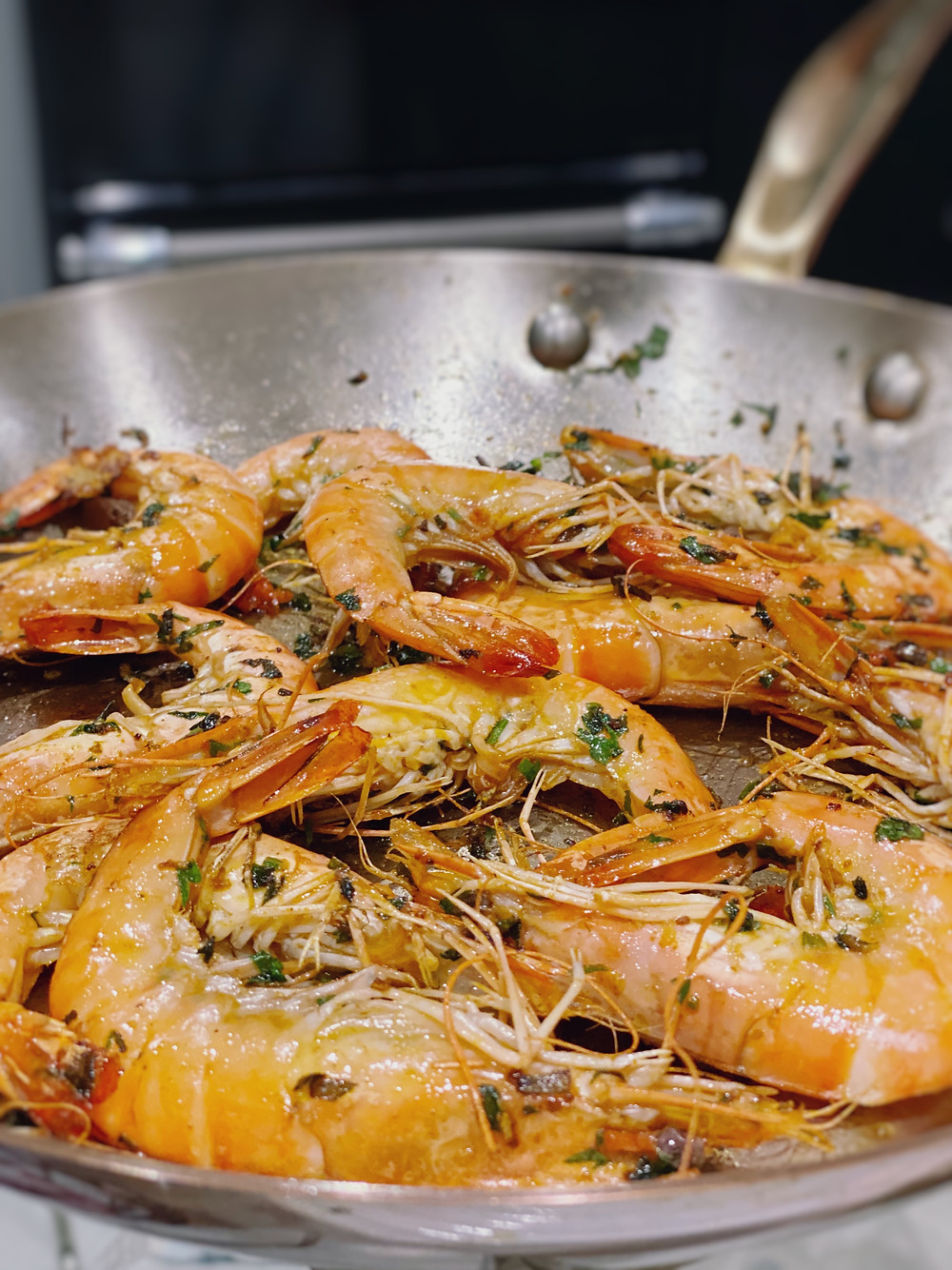 Pan fried tiger prawns by hormone specialist and Nutritionist Kay Ali