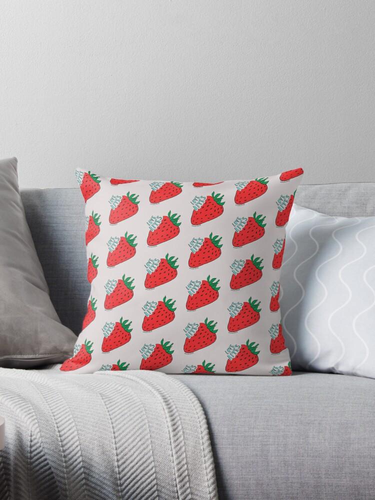 Elephant Grey Love Bites Strawberries Pillow