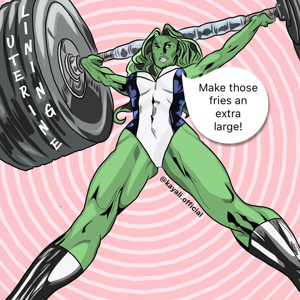 Kay Ali's Hormone Heroines_She-Hulk embodies how we feel during luteal phase of menstruation_London Hormone Specialist