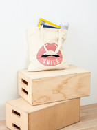 Smile & be happy cotton reusable shopping bag