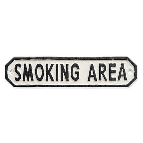 サインプレート SMOKING AREA ホワイト