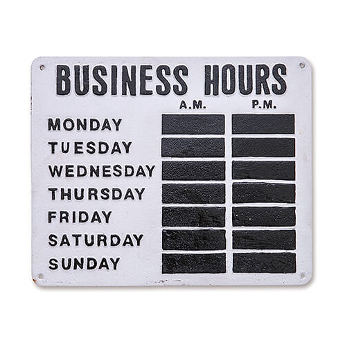 サインプレート BUSINESS HOURS