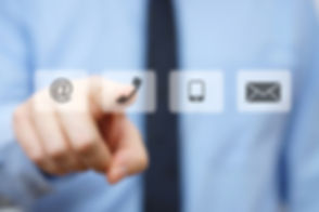 businessman pressing phone button, compa