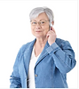 Senior woman in denim jacket on the phone.