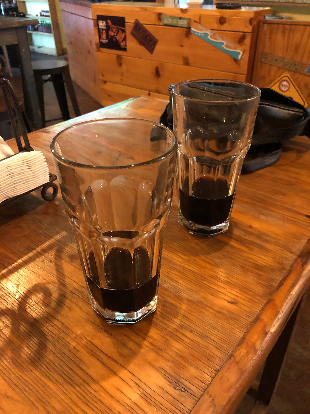 two empty glasses of beer