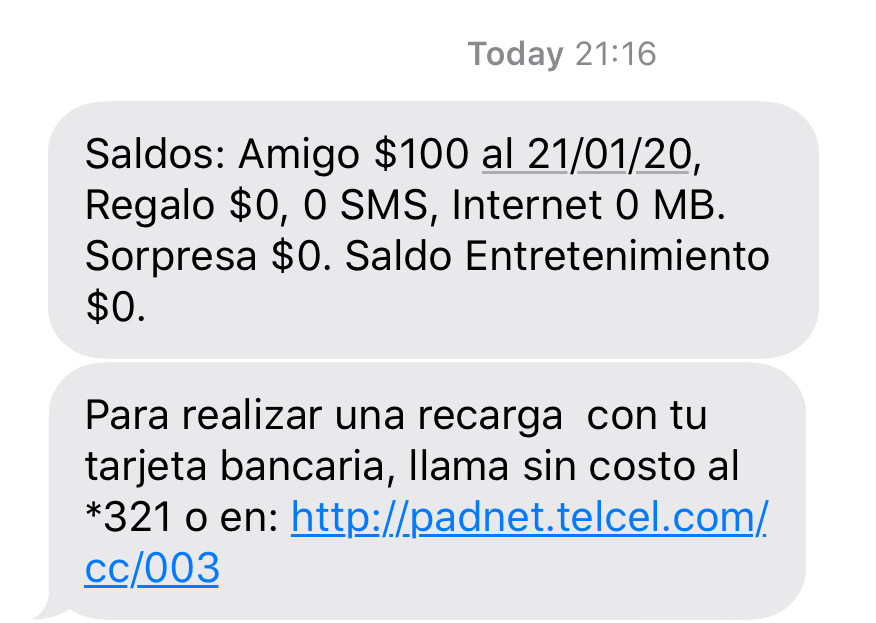 Balance request text response telcel