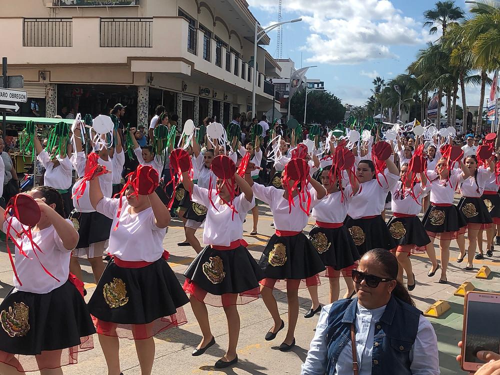revolution day parade schoolchildren march