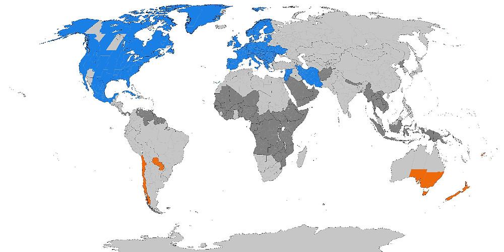 world map showing daylight saving