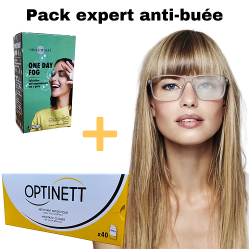 Lingettes anti-buée pour lunettes - Pack expert