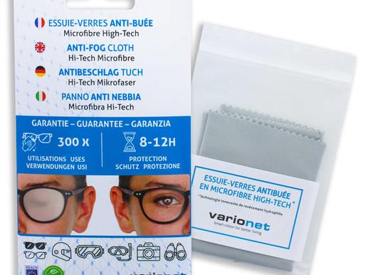 Fini la buée sur vos verres : Essuie-verres anti-buée en microfibre high-tech Varionet