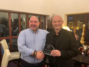Julian Hackett, Head of Supply Chain at Brush Traction, awarding Flotec Industrial's MD, Julian Davies, with the Supplier Of The Year Award 2019.