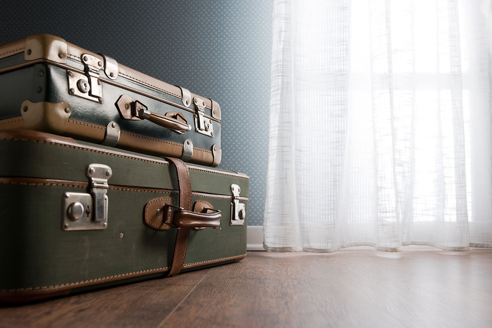 Suitcase representing discoveries about ancestors traveling recorded in newspapers