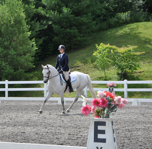 Bella and Heather competing in dressage