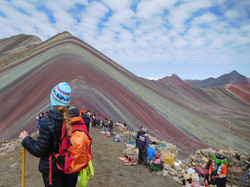 Die Aussicht auf auf die Rainbow Mountains