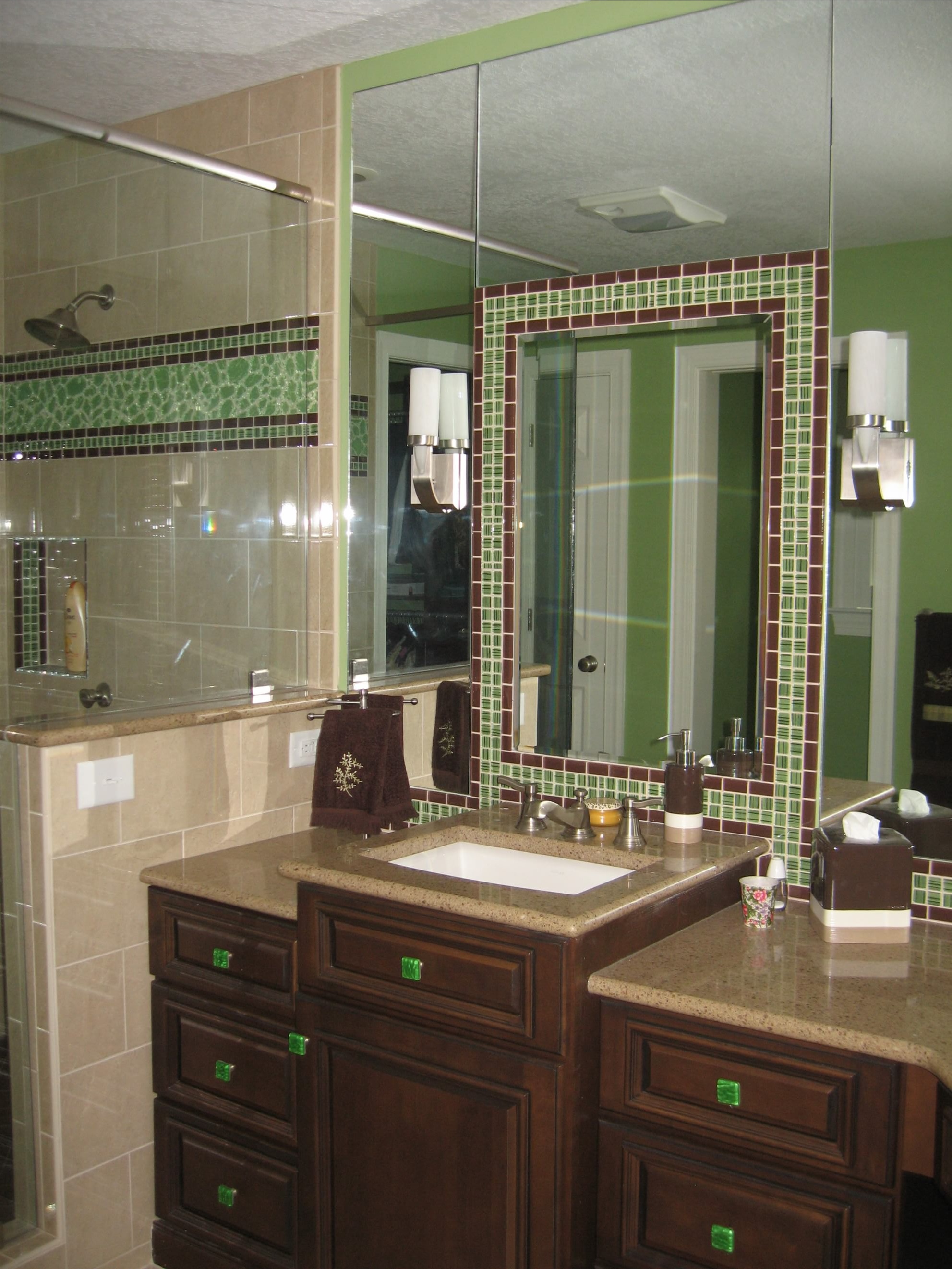 Green glass tile bathroom