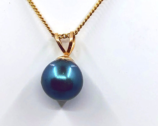 9Ct black freshwater pearl excluding chain
