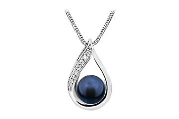 P23 Silver and black Fresh Water Pearl Pendent plus chain