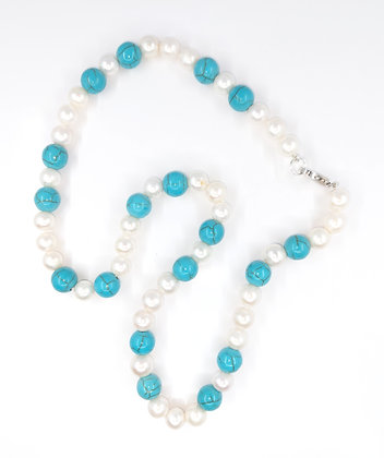 Fresh Water Pearl and Turquoise Neckalce