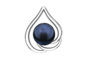 E16 Silver earrings with black/green fresh water pearl