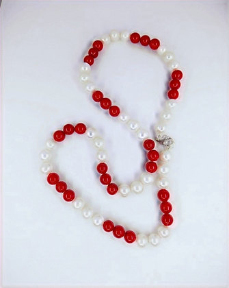 Fresh Water Pearl and Coral Bamboo Necklace