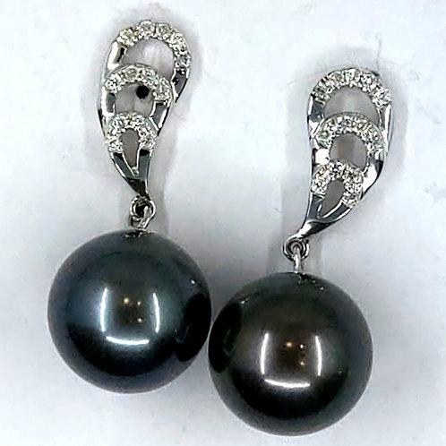 Tahitian and Diamond Earrings
