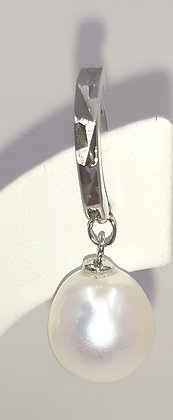 Baroque White Pearl Drop earrings set on Sterling Silver