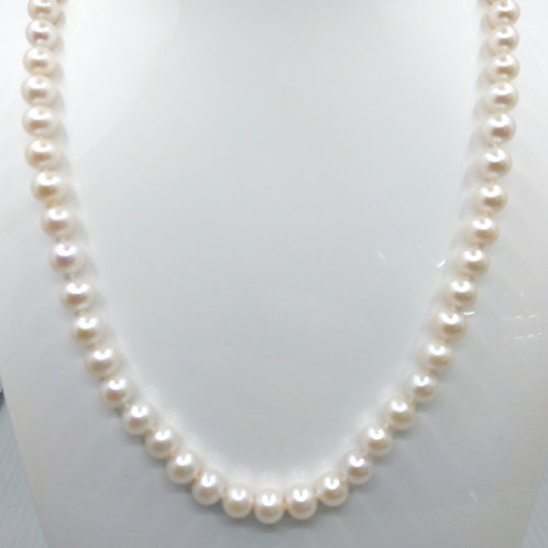 """White Cultured Akoya Necklace 18"""""""
