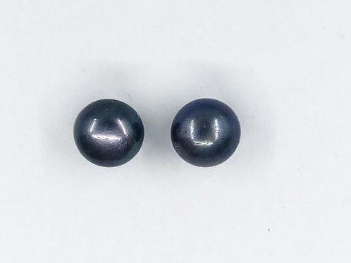 Black 10mm freshwater silver earrings