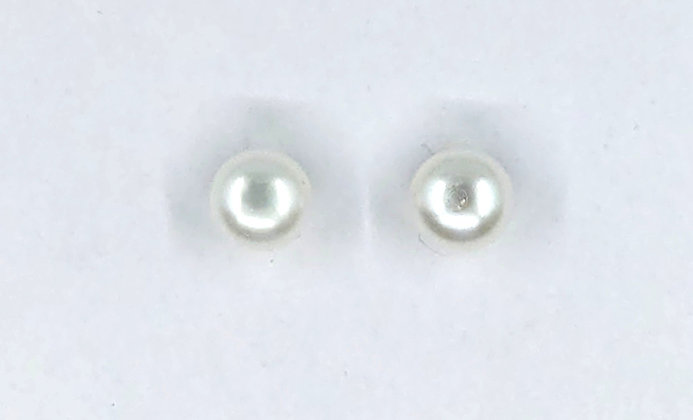 9mm white fresh water stud earrings on silver