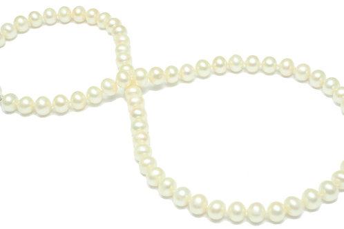 N35 White Fresh Water Round Pearls 7mm
