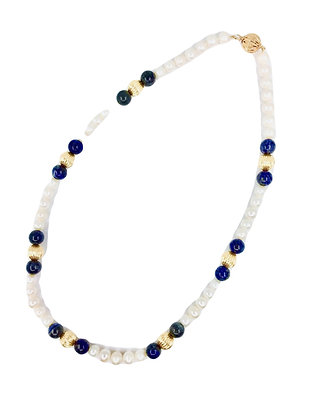 Onyx 9ct fresh water and lapis  pearl necklace 02