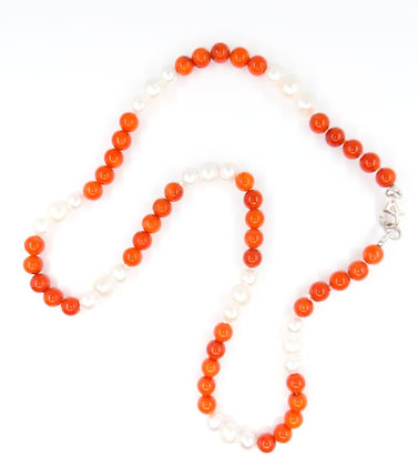 Coral and Fresh Water Pearl Necklace 08