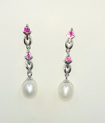 White Freshwater pearl drop, set on Sterling Silver, encrusted with 2Real Rubies