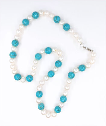 5.5mm Fresh Water white Pearl and Turquoise Beads Necklace, silver clasp