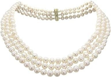 Cultured White Pearl necklace 3 strands